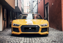 2017 audi r8 spyder, cars, audi r8, yellow cars, city wallpaper