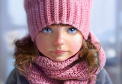 picture, child, girl, baby, art, hat, winter, scarf wallpaper