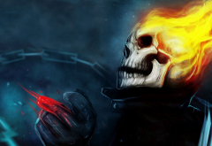 skulls, fantasy art, artwork, Ghost Rider, hentai wallpaper
