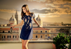 iliana chernakova, dress, smoky eyes, blue clothing, looking away wallpaper