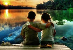 children, sitting, embracing, romantically, daisies, bouquet, river, sunset, forest, reflection, pier, child, boy, girl wallpaper