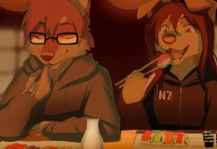 furry, anthro, mass effect, sushi, furry fandom, anime wallpaper