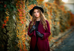 women, olga boyko, gloves, hat, brunette, autumn wallpaper