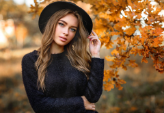 women, portrait, olga boyko, hat, brunette, sweater, autumn wallpaper