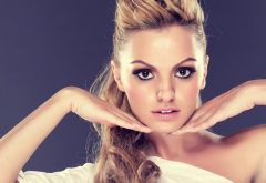 Alexandra Stan, singer, face, brown eyes, smoky eyes wallpaper