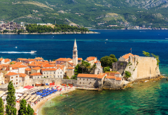 montenegro, houses, coast, bay, beach, city, nature wallpaper