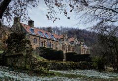 mount grace house, england, house, mount grace priory, snowdrops, city wallpaper