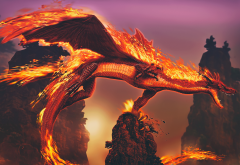 fantasy art, fan art, artwork, dragon, night, fire, fantasy wallpaper