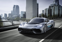 mercedes-amg project one, cars, mercedes, city, skyscrapers wallpaper