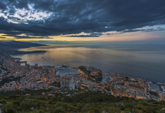 monaco, coast, sea, evening, city, clouds wallpaper