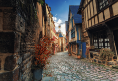france, brittany, city, street, house, pavement, dinan, cat-darmor wallpaper