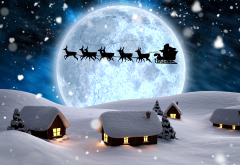 3d graphics, winter, holidays, christmas, night, snow, moon, reindeer, santa, new year wallpaper