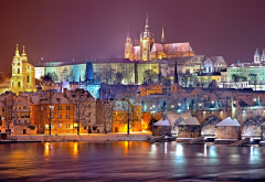 prague, city, evening, winter, snow, river, czech republic wallpaper