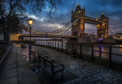 city, London, England, Tower Bridge, bridge, street, street light, night, cobblestones, River Thames wallpaper