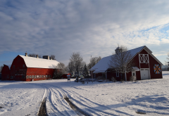 winter, house, snow, clouds, nature, farm wallpaper