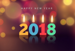 2018, happy new year, new year, candles, holidays wallpaper
