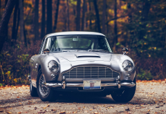 car, Aston Martin, Aston Martin DB5, fall, road, forest, 007, James Bond, leaves wallpaper