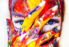 colorful, women, face paint, fingers, hand wallpaper