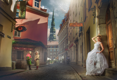 city, street, houses, tower, people, girl, bride, women, riga, latvia wallpaper