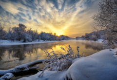 river, trees, snow, frost, sky, reflection, nature wallpaper