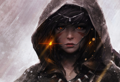 hood, girl, look, fantasy, raincoat, archer, tattoo, rain, art wallpaper