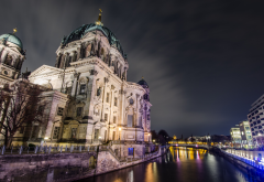 berlin, city, landscape, evening, germany, berlin cathedral wallpaper