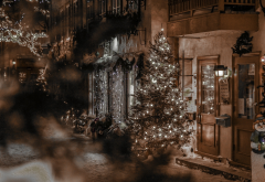 street, holidays, quebec, canada, city, night, christmas wallpaper