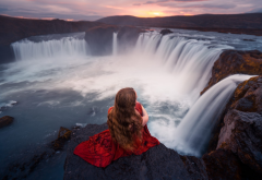 godafoss, iceland, lizzy gadd, nature, waterfall, women, redhead, red dress wallpaper