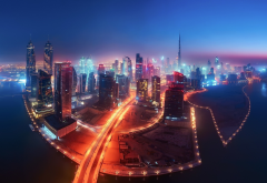 dubai, uae, city, night, ckyscrapers wallpaper