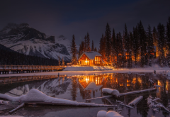 snow, lake, house, bridge, mountains, forest, sky, reflections, winter, nature wallpaper