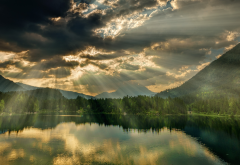 rays of light, lake, nature, clouds, nature, hintersee, bavaria, germany wallpaper
