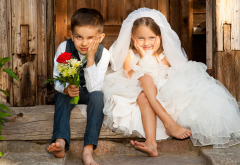children, flowers, friendship, girl, boy, wedding dress, smile wallpaper