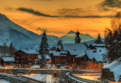 switzerland, mountains, house, winter, evening, town, sunset wallpaper