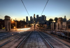 los angeles, train tracks, light, bridge, city, dawn, tramway rails, rails, california, usa wallpaper