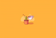 illustration, coffee, cactus, simple, minimalism wallpaper
