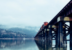 train, freight train, locomotive, bridge, nature, lake, sandpoint, idaho, usa wallpaper