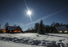 winter, snow, house, tree, moon, night, nature wallpaper
