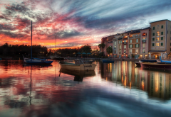 Portofino, Italy, boat, sea, water, reflection, sunset, clouds, building, city wallpaper