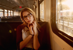 women, portrait, brunette, glasses, sitting, train wallpaper