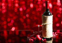 valentines day, holidays, bottle, wine, box, gift, heart wallpaper