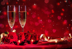 holidays, flowers, roses, ribbon, glasses, champagne, heart, sparkles wallpaper