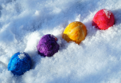 eggs, easter, snow, holidays wallpaper