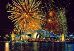 australia, city, water, bridge, night, lights, salute, sydney wallpaper