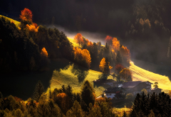 nature, landscape, autumn, hills, meadows, trees, houses wallpaper