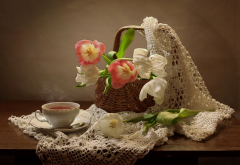 table, cup, tea, flowers, tulips wallpaper