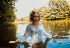 model, women, redhead, blouse, river, pond wallpaper