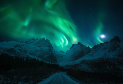 light, snow, mountains, winter, northern lights, road, night, moon, nature wallpaper