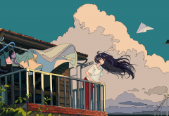 clouds, sky, building, anime, digital art, wind, paper plane,  wallpaper