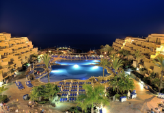 canary, santa cruz de tenerife, tenerife, resort, canary islands, night, pool wallpaper