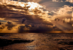 sea, clouds, sun rays, nature wallpaper